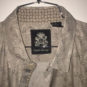 English Laundry- M Cream Shirt w/ Unique Paisley